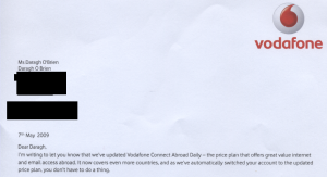 Header of vodafone letter, May 2009