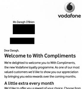Vodafone mailshot September 2009